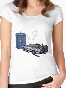 DeLorean vs Tardis [Drawing] Women's Fitted Scoop T-Shirt