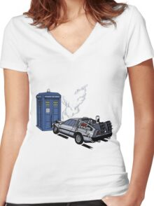 DeLorean vs Tardis [Drawing] Women's Fitted V-Neck T-Shirt