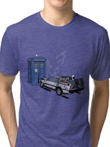 DeLorean vs Tardis [Drawing] Tri-blend T-Shirt