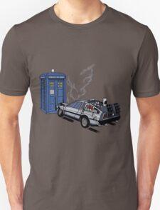 DeLorean vs Tardis [Drawing] T-Shirt