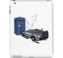 DeLorean vs Tardis [Drawing] iPad Case/Skin