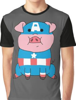 Captain Ameripig Waddles Graphic T-Shirt