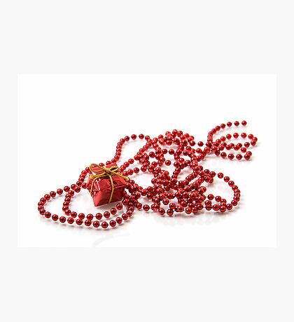 Red Gift Box and Beadwork Photographic Print