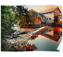 The river, a country house and reflections | waterscape photography Poster