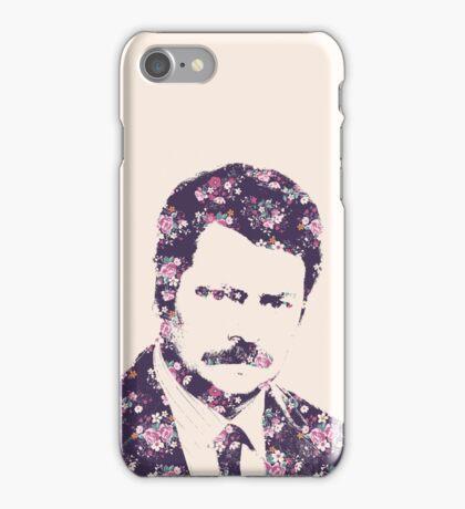 Ron Swanson in Florals iPhone Case/Skin