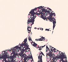Ron Swanson in Florals by misfitkismet