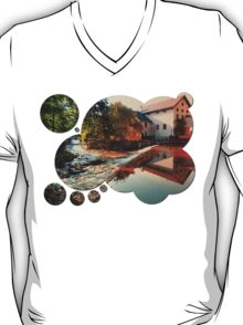The river, a country house and reflections | waterscape photography T-Shirt