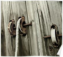 pulley, rope, and nails Poster