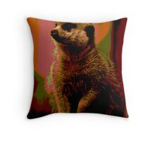 Meerkat print Throw Pillow