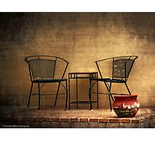 Table and Chairs in Black Photographic Print