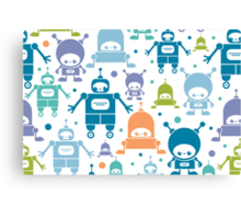 Colorful fun robots pattern Canvas Print
