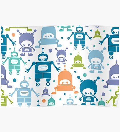 Colorful fun robots pattern Poster