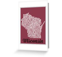 Wisconsin Typography Map Greeting Card