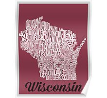 Wisconsin Typography Map Poster