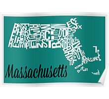 Massachusetts Typography Map Poster