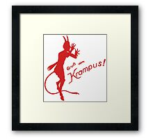 Krampus 24 Red on Green Framed Print