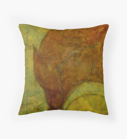RED HORSE STRADDLING YELLOW BALL Throw Pillow