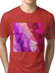 Modern Sparkly Faux Glitter Geometric Triangles Tri-blend T-Shirt