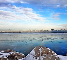 Rocks And Frozen Lake by EBArt