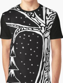 Black & White Tree Illustration Graphic T-Shirt