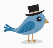 Blue bird with black hat sticker by MheaDesign