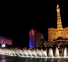 Vibrant Las Vegas - Bellagio's Fountains, Paris, Bally's and Flamingo by Georgia Mizuleva