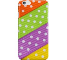 Fabric Pieces, Polka Dots - Green Orange Yellow iPhone Case/Skin