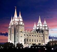 Salt Lake Temple Summer Sunset 20x24 by Ken Fortie