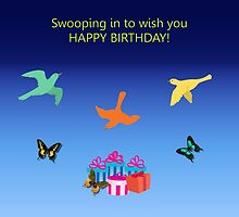 Birthday Card - Swooping in to Wish You a Happy Birthday by aprilann