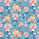 Beautiful ornamental pattern with cats by Tanor