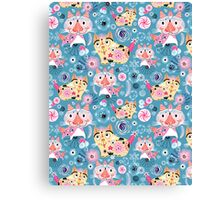 Beautiful ornamental pattern with cats Canvas Print