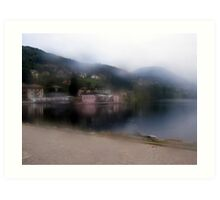 Lake reflections in the mist Art Print