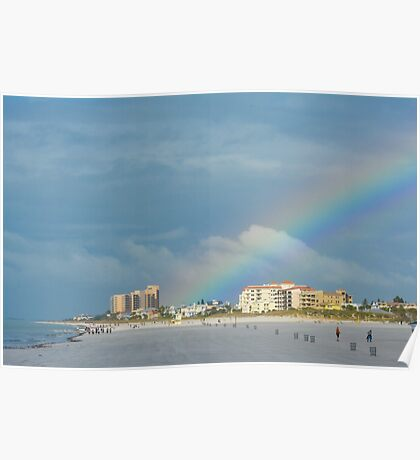Rainbow over Clearwater Beach Poster
