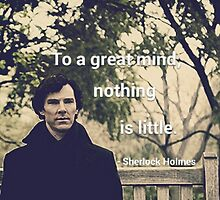 'To a great mind, nothing is little.' Sherlock Holmes quote by phanassemble