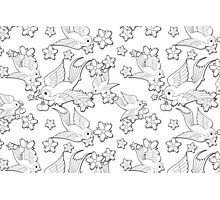 Black and White Swallow Pattern Photographic Print