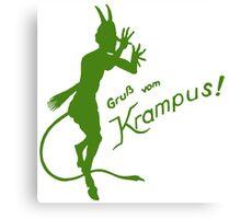 Krampus 24 Green on Red Canvas Print