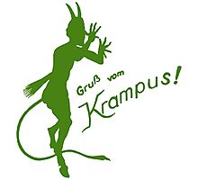 Krampus 24 Green on Red Photographic Print