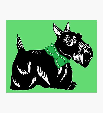 Scottie Dog with a Green Bow Photographic Print