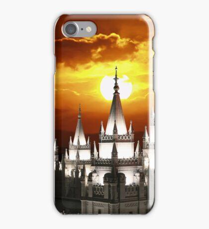Salt Lake Temple Sunset Spires 20x30 iPhone Case/Skin