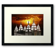 Salt Lake Temple Sunset Spires 20x30 Framed Print