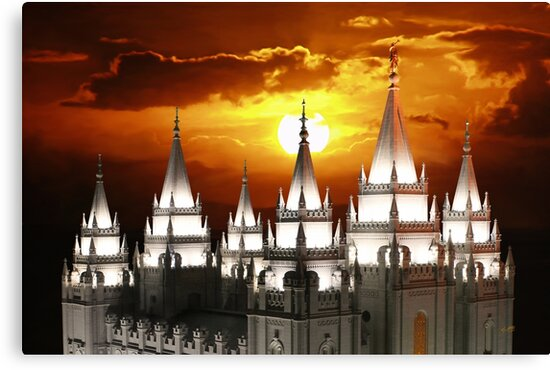 Salt Lake Temple Sunset Spires 20x30 by Ken Fortie