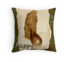 Happy Birthday Greeting Card - Antique Leather Powder Flask Throw Pillow