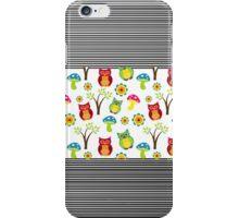 Vintage colorful floral owl stripes pattern iPhone Case/Skin