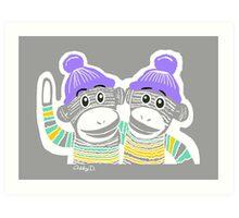 Grey, Mint, Yellow, and Purple Sock Monkeys Art Print