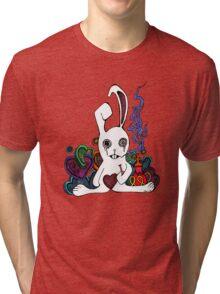 Hookah Smoking Rabbit Tri-blend T-Shirt