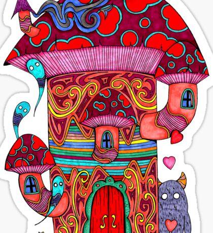 Mushroom House III Sticker
