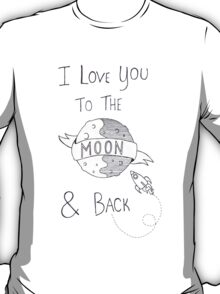 To The Moon And Back - Black & White T-Shirt