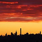 New York City Sunset Skies by Alberto  DeJesus