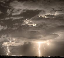 Double Lightning Strikes in Sepia HDR by Bo Insogna