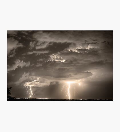 Double Lightning Strikes in Sepia HDR Photographic Print